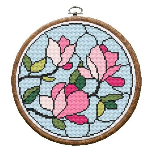 Kit with tapestry and frame - Stained glass – Magnolias