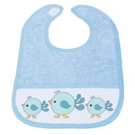 Cross stitch kit - Bib - Blue birds