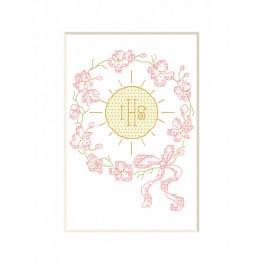 Cross stitch kit - Holy communion card - Hostia