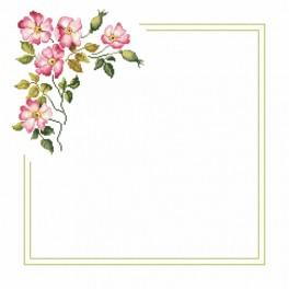 Cross stitch kit with mouline and napkin - Napkin with wild rose
