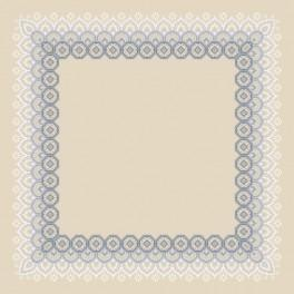 Cross stitch kit with mouline and napkin - Napkin with lace II