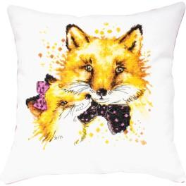 Cross stitch kit with mouline and a pillowcase - Pillow - Foxes in love