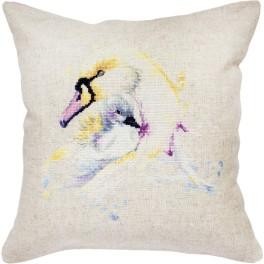LS PB137 Cross stitch kit with mouline and a pillowcase - Pillow - Swan