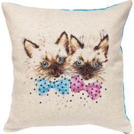 LS PB138 Cross stitch set with mouline and a pillowcase