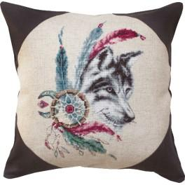 Cross stitch kit with mouline and a pillowcase - Pillow - Wolf
