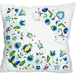Cross stitch kit - Pillow with a floral motif