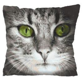 Cross stitch kit - Pillow - Green-eyed cat