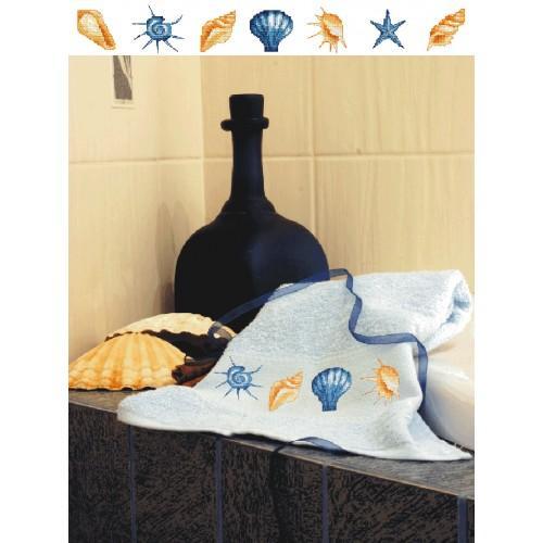 Z 4818 Cross stitch kit - Towel with shells