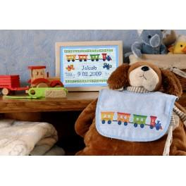 Cross stitch kit - Bib with train
