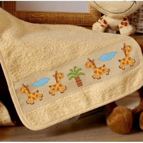 Cross stitch kit - Bib with wild animals