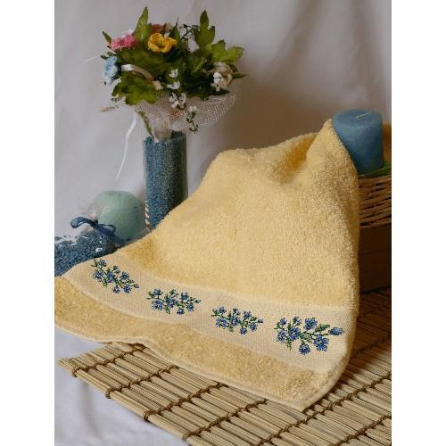 ZU 4841 Cross stitch kit - Towel with blue flowers