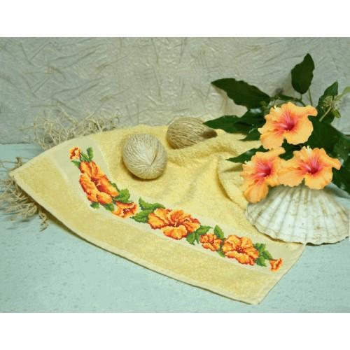 ZU 8225 Cross stitch kit - Towel with hibiscus