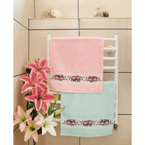 ZU 8426-01 Cross stitch kit - Towel with roses