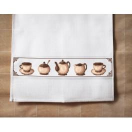 Cross stitch kit with a dishcloth - Dishcloth - Coffee set
