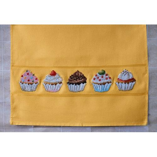 Cross stitch kit with a dishcloth - Dishcloth - Muffins