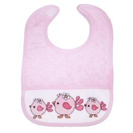 Cross stitch kit - Bib - Pink birds
