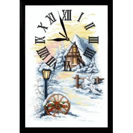 Cross stitch set with mouline, clock and frame - Winter clock