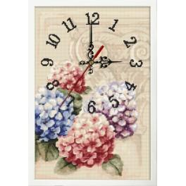 Cross stitch set with mouline, clock and frame - Clock with hydrangeas
