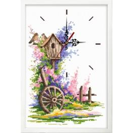 Cross stitch set with mouline, clock and frame - Summer clock