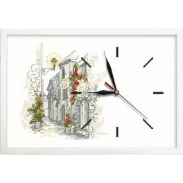 Cross stitch set with mouline, clock and frame - Clock with a street