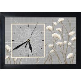 Cross stitch set with mouline, clock and frame - Clock with a spiderweb