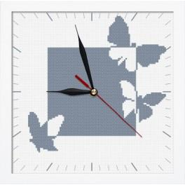 Cross stitch set with mouline, clock and frame - Clock with butterflies