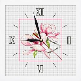 Cross stitch set with mouline, clock and frame - Clock with magnolia