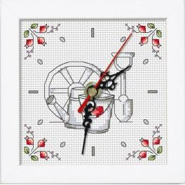 Cross stitch set with mouline, clock and frame - Clock - Flowers from the garden