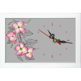 Cross stitch set with mouline, clock and frame - Clock with a branch of dogwood