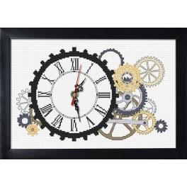Cross stitch set with mouline, clock and frame - Steampunk clock