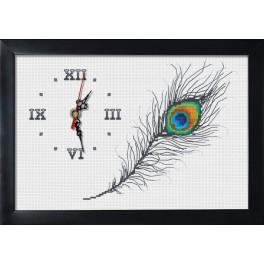 Cross stitch set with mouline, clock and frame - Clock with peacock feather