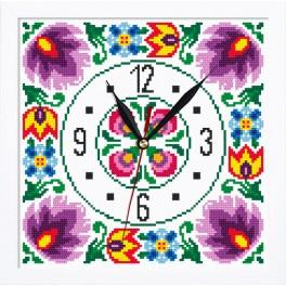 Cross stitch set with mouline, clock and frame - Ethnic clock