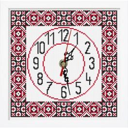 Cross stitch set with mouline, clock and frame - Ethnic clock II
