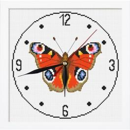 Cross stitch set with mouline, clock and frame - Clock with butterfly