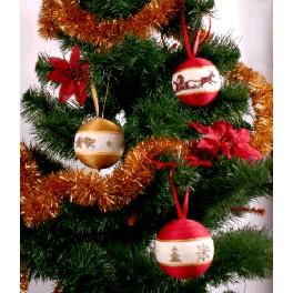 Cross stitch kit - Christmas balls (red and golden)
