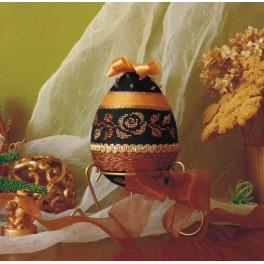Cross stitch kit - Decorative egg with golden rose
