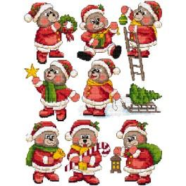 Cross stitch kit - Christmas decorations - Teddy bears