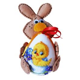 Cross stitch kit - Easter bunny with decorative Easter egg