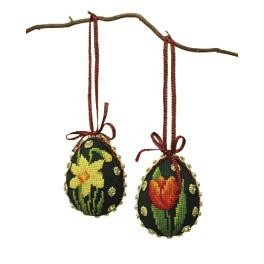 Cross stitch kit - Easter eggs - Colourful flowers