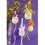 Cross stitch kit - Flower easter egg - Pansy and daffodil