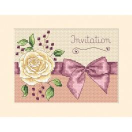 Cross stitch kit - Card - Invitation - Rose