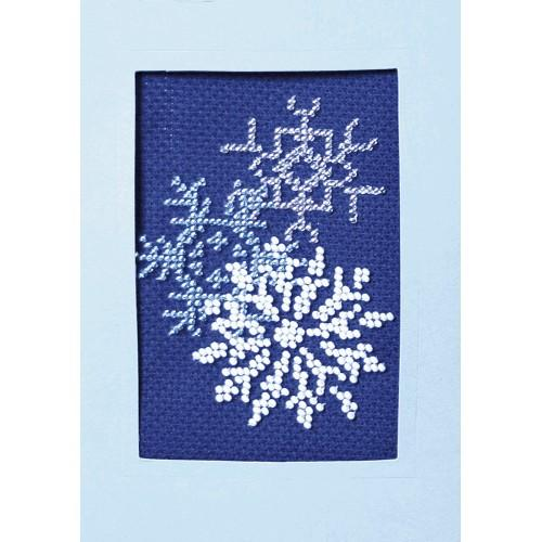 ZU 8405-05 Kit with beads - Christmas card - Glowing snow flakes