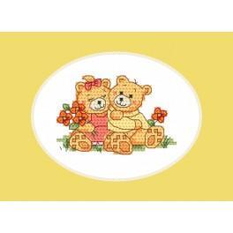 ZU 4982 Cross stitch kit - Card - Sweet teddy bears