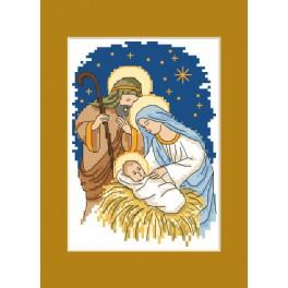 Cross stitch kit - Christmas postcard - Holy family