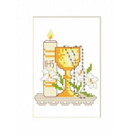 Cross stitch kit - Holy communion card - Candle and cup