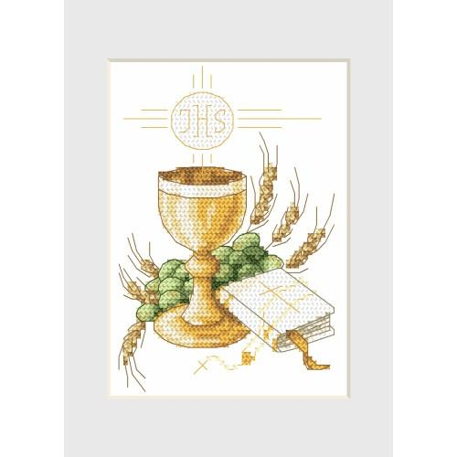Cross stitch kit - Holy communion card - Holy cup