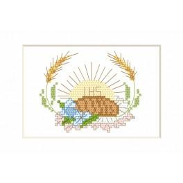 Cross stitch kit - Holy communion card - Hostia and bread