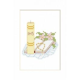 Cross stitch kit - Holy communion card - Candle with a book