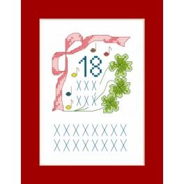 Cross stitch kit - Greeting card - 18 years old