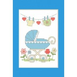 Cross stitch kit - Birth Day card - Birth of a boy